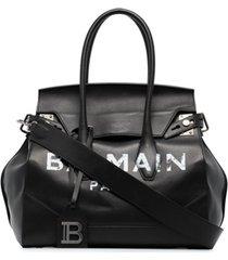 balmain bolsa tiracolo com estampa de logo - preto