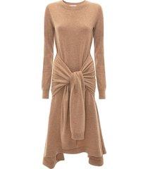 jw anderson waist tie a-line dress - brown