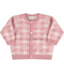 fendi pink and ivory cardigan with double ff for baby girl