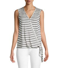 sleeveless surplice tie top