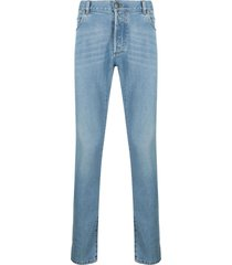 balmain embroidered slim jeans-light blue
