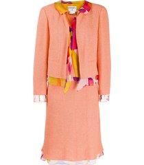 chanel pre-owned scarf embellished skirt suit - orange