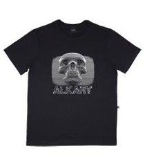 camiseta alkary caveira 3d preta