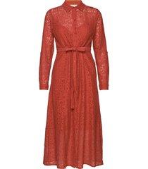 augustinecr dress knälång klänning röd cream