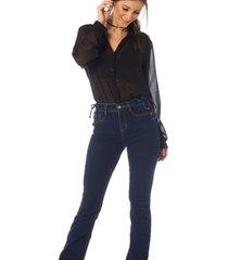 calça jeans denim zero boot cut média trançado feminina