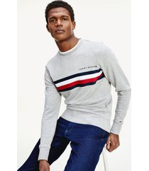 tommy hilfiger men's bold stripe sweatshirt medium grey heather - s