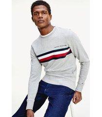 tommy hilfiger men's bold stripe sweatshirt medium grey heather - s