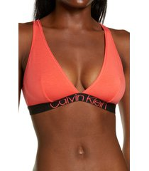 calvin klein eco modern unlined triangle bralette, size large in punch pink at nordstrom