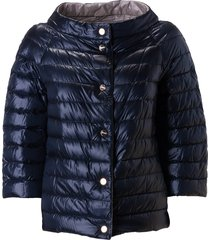 herno round neck buttoned padded jacket