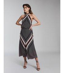 reiss eline - scarf print midi dress in navy print, womens, size 14