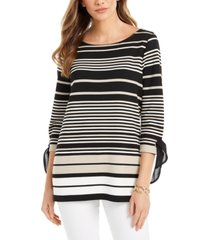 charter club striped tie-sleeve top, created for macy's