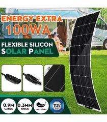 100w 18v panel solar flexible monocristalino powered impermeable conector del cargador del coche de carga para la iluminación al aire libre autocaravana barco inicio camping - negro