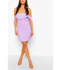petite ruched bardot dress, lilac