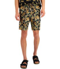 """inc international concepts men's regular-fit stretch tropical-print 8"""" drawstring shorts, created for macy's"""