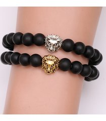 bracciale con perline a forma di cuore di leone etnico bracciale con perline di buddha a forma di braccialetto di perline nere