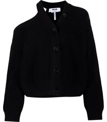 msgm one-shoulder buttoned cardigan - black
