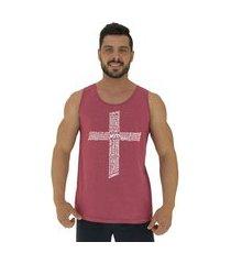 regata clássica masculina alto conceito crucifixo motivacional mescla vermelho