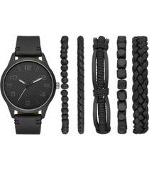 folio men's black vegan leather strap watch 44mm box set