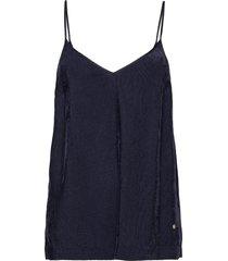 vive velvet singlet t-shirts & tops sleeveless blauw mos mosh