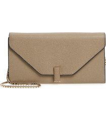women's valextra iside leather continental wallet on a chain -