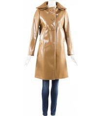 prada brown resin coated buttoned coat beige sz: s