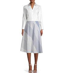 donna karan women's mixed stripe button-front cotton dress - white indigo - size m