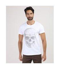 camiseta masculina caveira manga curta gola careca branca