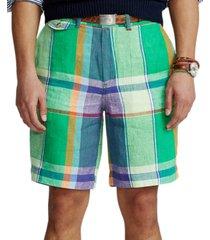 polo ralph lauren men's 9-inch classic-fit linen madras shorts