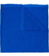 faliero sarti frayed mid-length scarf - blue