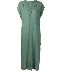 caravana hooded buttoned short-sleeve tunic - green