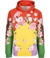 valentino flying flowers print hoodie