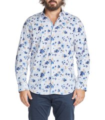 johnny bigg watson floral print stretch cotton button-up shirt, size xxx-large in blue at nordstrom