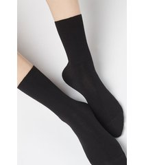 calzedonia short socks in cotton with cashmere woman black size 39-41