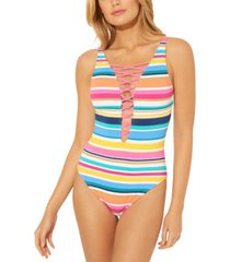 bleu by rod beattie lattice one-piece swimsuit women's swimsuit