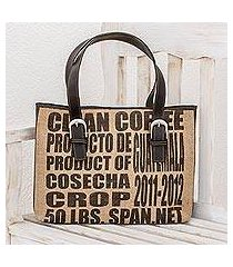 jute and leather shoulder bag, 'clean coffee' (guatemala)