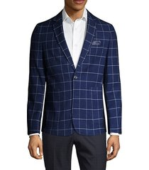 extra slim-fit windowpane-print jacket
