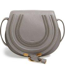 chloe 'mini marcie' leather crossbody bag - grey