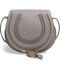 chloe mini marcie leather crossbody bag - grey
