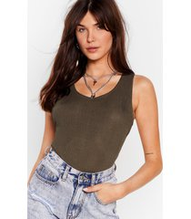 womens cross it off the list ribbed high-leg bodysuit - olive