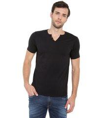 camiseta con botones de hombre licrada -negro polovers