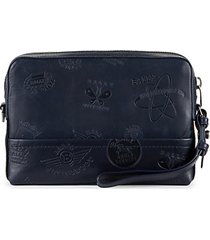 taney leather logo-embossed wristlet pouch