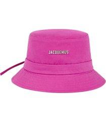 logo bucket hat dark pink