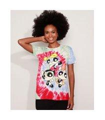camiseta feminina as meninas superpoderosas estampada tie dye manga curta decote redondo multicor