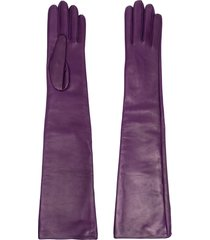 manokhi slip-on leather gloves - purple