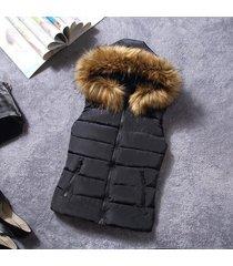 2017 winter fur collar vest down joker cotton hooded vest women waistcoat