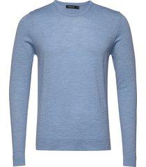 newman-perfect merino stickad tröja m. rund krage blå j. lindeberg