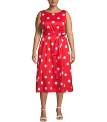 anne klein plus size dot-print midi dress