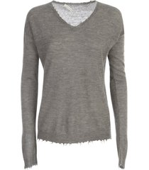 stefano mortari alpaca l/s v neck sweater w/little fringes