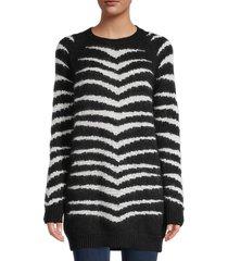 redvalentino women's maglia wool & mohair-blend longline sweater - nero avorio - size m