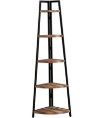danya b. rustic free-standing 5-tier pyramid industrial corner shelf in distressed wood finish